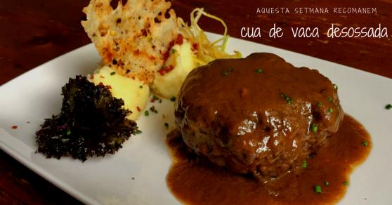 Avet Blau hostal restaurant santa fe del Montseny Cua de vaca desossada amb parmentier i cruixent de festuc